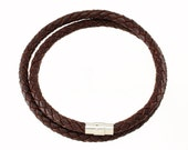 "6mm Brown Braided Leather Wrist Necklace Choker 14"" - 36"" Silver Toned Magnetic Clasp Lock. You Choose Length. LCB0600BRN_MAS"