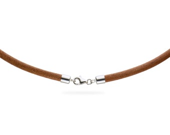"""5mm Natural Leather Cord Necklace with 925 Sterling Silver Clasp 14"""" inches - 36"""" inches, You choose length. LCR0500NATS"""