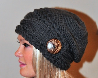 Slouchy Beanie Slouch Hat Cable Button Hat Hand Knit Winter Women Hat CHOOSE COLOR Dark Gray Grey Fall Chunky Christmas Gift