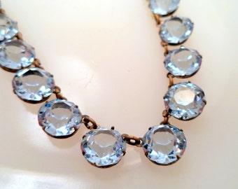 Art Deco Blue Austrian Crystal Necklace