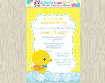 Rubber Ducky Baby Shower Invitation boy baby shower rubber duck boy invitation invite sprinkle printable custom