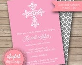 Girl Cross Baptism Invitation, Cross Baptism Invite, Printable Baptism Invitation, Baptism Invite - Intricate Cross in Pink & White