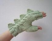 Dragon, dinosaur, monster pale green  fingerless mittens gloves, soft 100% pure Australian wool,medium female adult's size
