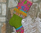 Mexican Christmas Stocking ... Fiesta Christmas Stocking .....  Pinata Stocking