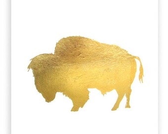 Bison (Bull) in Metallic Gold - 8x10 Hand Gilded Buffalo Silhouette Print - Boho Chic Nature Decor Gold Leaf