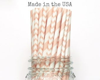 Paper Straws, Blush Pink Paper Straws Stripe Chevron, Pink Vintage Wedding Table Setting, Pink Baby Shower, Kids Birthday Party Straws, USA