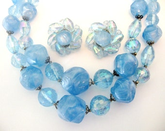 Vintage West GERMANY Jewelry Set - Blue Beaded Necklace, Earrings w/ Marble & Ab Beads