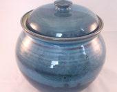 Stoneware Crock, Canister, Lidded Pot Handmade Pottery Glazed in Retro Blue
