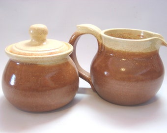 Sugar Bowl and Cream Pitcher Breakfast Set - Natural Oatmeal Tan Brown and Rustic Speckled Cream - Handmade Pottery