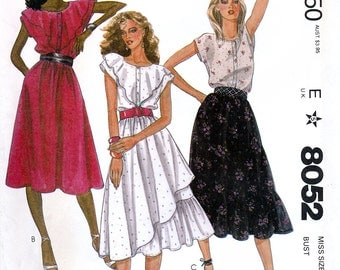 McCall's 8052 by Roland Klein Vintage 80s Misses' Top and Skirt Sewing Pattern - Uncut - Size 10 - Bust 32.5