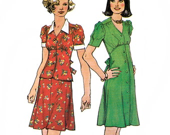 Simplicity 6086 Vintage 70s Misses' Short Dress or Top and Skirt Sewing Pattern - Uncut - Size 10 - Bust 32.5
