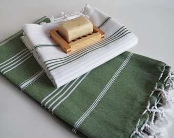 Shipping with FedEx - Set 2 Piece Turkish BATH Towel - Classic Peshtemal - Green and White (green striped)