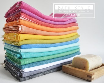SALE 50 OFF/ Please Select a Color / Head and Hand Towel / Classic Style - White striped