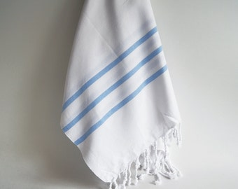 Shipping with FedEx - Turkish BATH Towel Marine Style Peshtemal - Natural Cotton - White