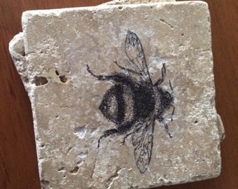 "Bee Coasters Vintage Bumble Bee Tile Coasters, Antique, 4"" x 4"" Tumbled Stone, Shabby Chic Bees drink coasters set of four"