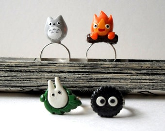 Adorable Polymer Clay  Rings - Inspired by Totoro and Friends / Soot spirit / Calcifer