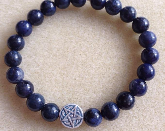 Dumortierite Celtic Star Stretch Bead Bracelet - Raku Ceramic Pentacle Pentagram Bead & 8mm round blue Dumortierite + Sterling Silver Accent