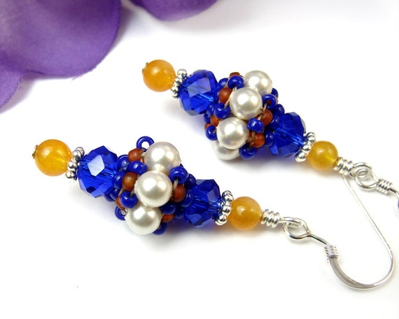 Cobalt Blue and White Pearl African Bead Earrings, Orange Gemstone, Crystals, Handmade Jewelry