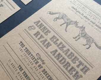 Fox Letterpress Wedding Invitation SAMPLE
