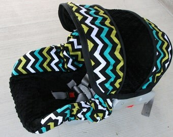 Chevron with BLACK minky boy  Infant car seat cover- Custom Order- Free Strap covers