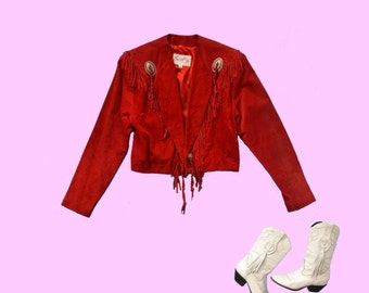 1980s Western Fringed Red Suede Jacket size S