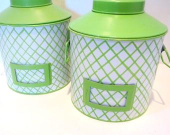 Vintage Canister Set, Storage, Industrial, Canisters, Neon Green Flour Sugar Canister Set, set of 2