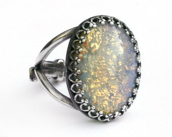 Moon Opal Ring - Adjustable sizes 5-10