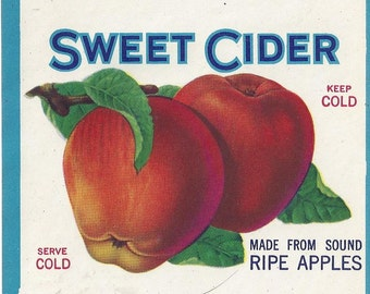 Vintage Sweet Cider Lithograph Label, 1930s