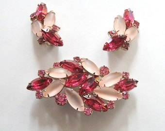 CIJ Sale, Pink Rhinestone Demi Parure, Juliana Satin Glass Brooch Earrings Set, Baby Pink, Raspberry, Hot Pink - Christmasinjuly