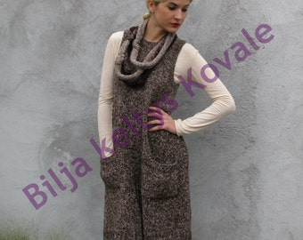 country look Women tunic/dress   Hand knit Sweater/vest... brown and beige M/L/XL with knit necklace