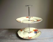 Art Deco 2 Tier Cake Plate / 2 Tiered Cake Stand / Vintage Two Tier Serving Plate / Tea Party / Shabby Cottage Chic / Farmhouse