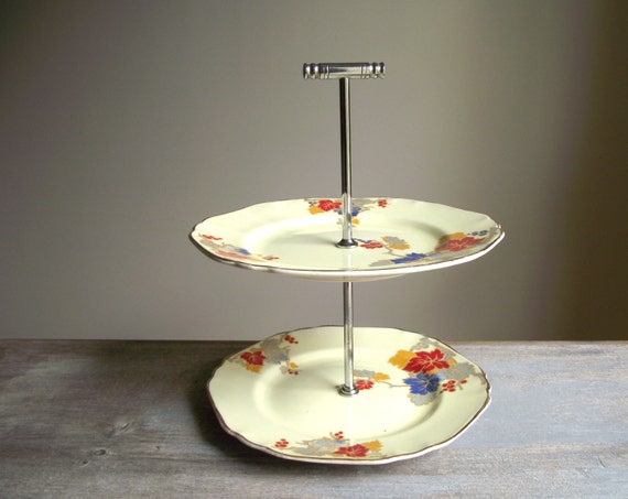 Art Deco 2 Tier Cake Plate 2 Tiered Cake Stand Vintage Two