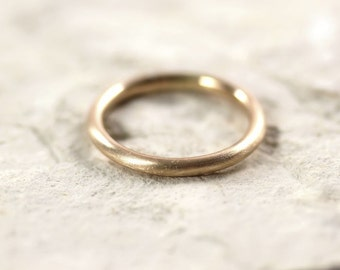 Women's 2mm Round Gold Wedding Band, Pudgy Round Recycled 14k Yellow Gold Ring Brushed Gold Wedding Ring or Stacking - Made in Your Size