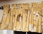 Gold brown and white floral valance