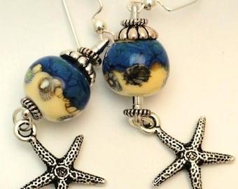 Lampwork Earrings, Ocean Earrings, Beach Earrings, Seashore, Art Bead Earrings,  Starfish
