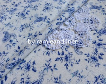 """cotton fabric, china blue paisley print Crinkle cotton fabric, half yard by 46"""" wide"""
