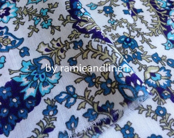 """fine cotton fabric,  paisley floral print cotton fabric, blue, half yard by 54"""" wide"""