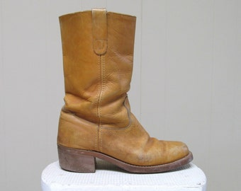 Vintage 1970s Campus Boots / 70s Honey Leather Landis Boots / Mens 9 1/2 D US