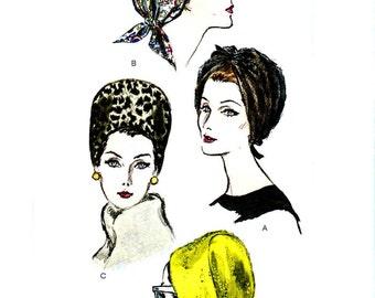 Chic Vintage 1960s Hat Patterns Vogue 6121 UNCUT All Sizes