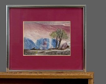 Vintage Miniature Painting Landscape Painting Palette Knife Painting Nature Scene with Trees Original Artwork Framed Art