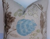 Teal Floral Decorative Pillow Cover-Designer Throw Pillow-Euro Sham-accent pillow-brown taupe green blue