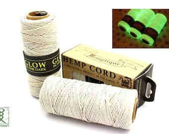 Glow in the Dark Hemp Twine, 1mm 20lb Polished Glow Hemp Craft Cord