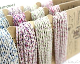 Glitter Hemp Cord, Flower Power Color Card, High Quality 1mm Sparkle Craft Cord