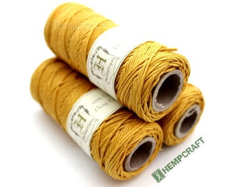 Hemp Twine, Yellow - Merry Gold High Quality 1mm Colored Craft Cord