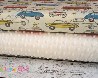 Minky Blanket Kit in Circa 52 Cars in Cream Organic Cotton, Complete Kit to Make a Baby Blanket, PDF Pattern Included