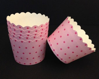 Pink with Dark Pink Polka Dot paper baking cups  (24), nut, portion, snack, dessert cups