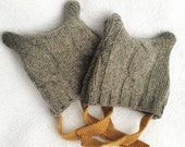 NEWBORN Twins Felted Wool upcycled sweater hats for newborn photo shoot Rustic Organic photo shoot prop hat for twins Set of 2