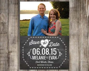 25 Save the Date Magnets, Chalkboard design, Cards, printable digital file customized with your photo -- Free customization in any color
