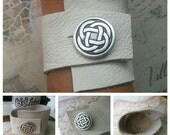 Creme Wide Leather Wristband/Cuff. Recycled, Upcycled Leather . Celtic Knot Button