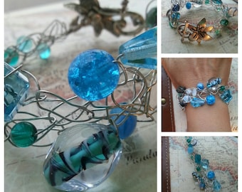 SALE. Colors of the Ocean. Wire Crocheted Bracelet. Something Blue